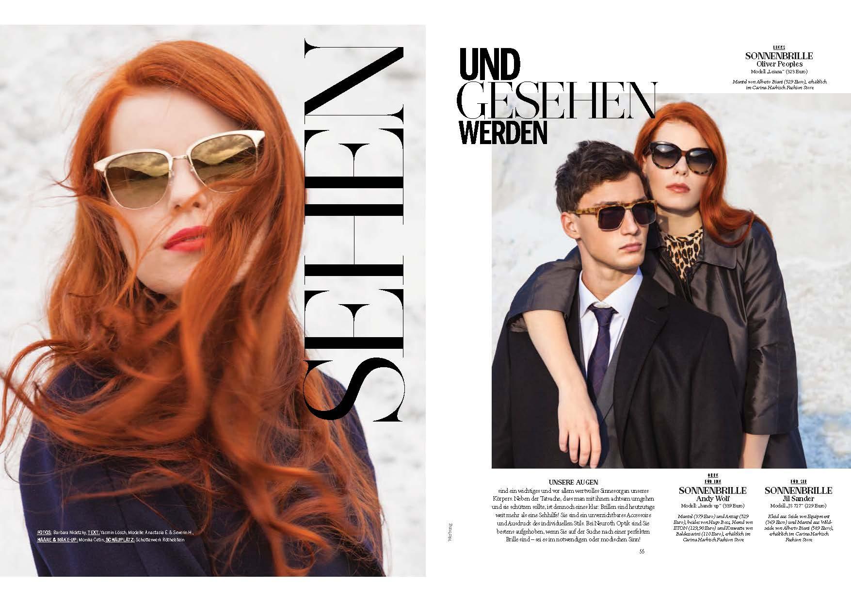 Model mit roten lockigen Haaren posiert mit einer SonnenBrille von Oliver Peoples, das gleiche Model ist nochmal abegebildet mit einem Männlichen Model, Severin Haidacher beid etragen Sonnenbrillen und coole Mode, Location: weißer Sandberg in einer Kiesfabrik