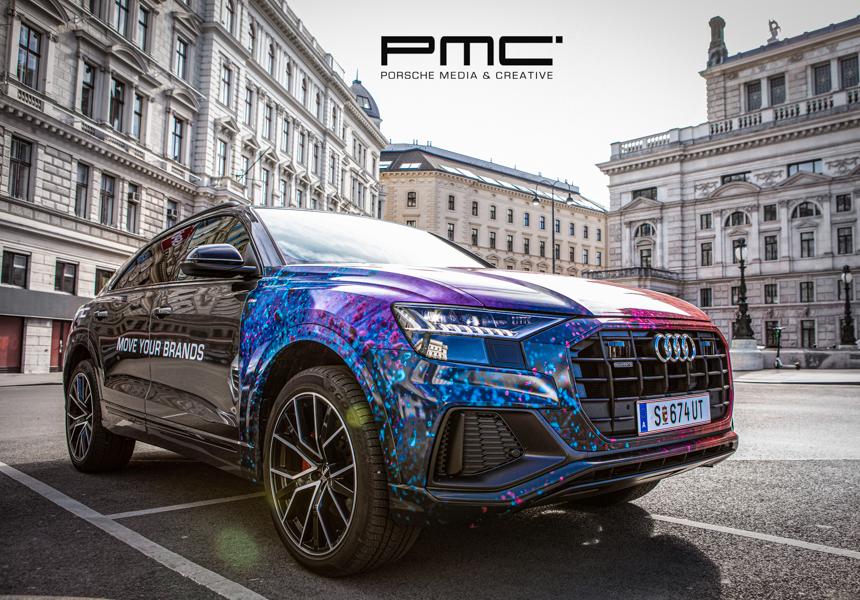 bunt und toll gebrandeter Audi von Porsche Media Creative