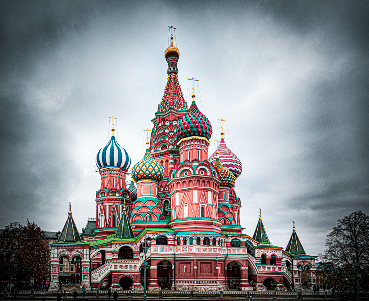 Roter Platz, Basilius Kathedrale, Moskau, stilisierte Farben, dramatisch