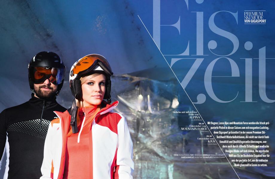 Advertorial für Mode von Gigasport fotofrafiert in der Eishöhle am Dachstein